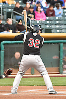 Shane Peterson (32) of the Sacramento River Cats at bat against the Salt Lake Bees at Smith's Ballpark on April 3, 2014 in Salt Lake City, Utah.  (Stephen Smith/Four Seam Images)