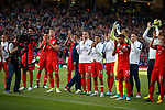 England celebrate to their fans at full time