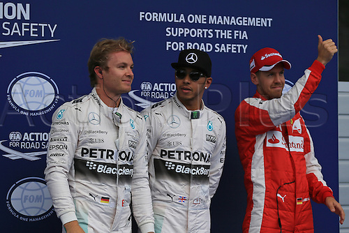 20.06.2015.  Red Bull Ring, Spielberg, Austria. F1 Grand Prix of Austria.   Mercedes AMG Petronas driver Lewis Hamilton takes pole for tomorrows race ahead of his team mate Nico Rosberg and Scuderia Ferrari driver Sebastian Vettel in 3rd place
