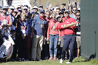 Ryan Moore (Team USA) on the 1st Fairway bunker during the Friday afternoon Fourball at the Ryder Cup, Hazeltine national Golf Club, Chaska, Minnesota, USA.  30/09/2016<br /> Picture: Golffile | Fran Caffrey<br /> <br /> <br /> All photo usage must carry mandatory copyright credit (&copy; Golffile | Fran Caffrey)