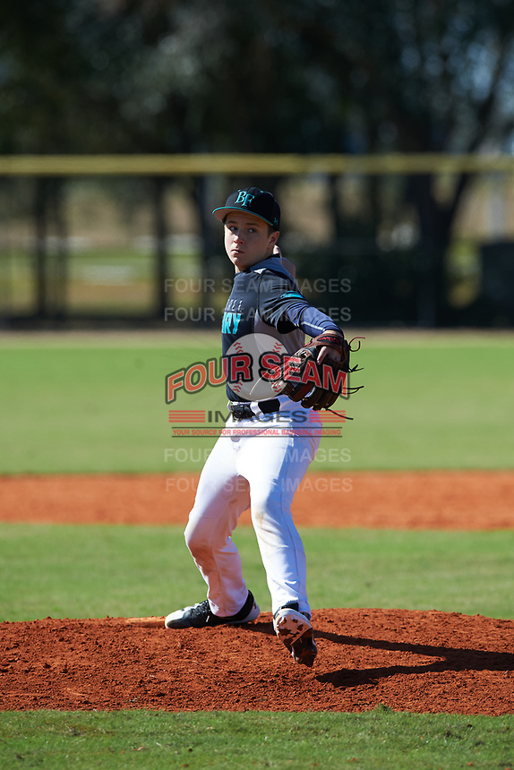 Etienne Thomas (3) of Dhaka, Bangladesh during the Baseball Factory All-America Pre-Season Rookie Tournament, powered by Under Armour, on January 14, 2018 at Lake Myrtle Sports Complex in Auburndale, Florida.  (Michael Johnson/Four Seam Images)