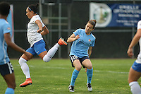 Piscataway, NJ, May 13, 2016. Forward Kyah Simon (17) of the Boston Breakers flies by Sky Blue defender Kelley O'Hara (19).  Sky Blue FC defeated the Boston Breakers, 1-0, in a National Women's Soccer League (NWSL) match at Yurcak Field.