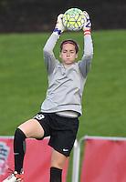 Boyds, MD - Saturday May 14, 2016: Washington Spirit goalkeeper Kelsey Wys (18) before a regular season National Women's Soccer League (NWSL) match at Maureen Hendricks Field, Maryland SoccerPlex. The Washington Spirit defeated the Houston Dash 1-0.