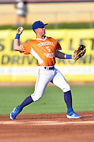 Tennessee Smokies Nico Hoerner (5) warms up between innings during a game against the Biloxi Shuckers on August 10, 2019 in Kodak, Tennessee. The Shuckers defeated the Smokies 7-3. (Tony Farlow/Four Seam Images)