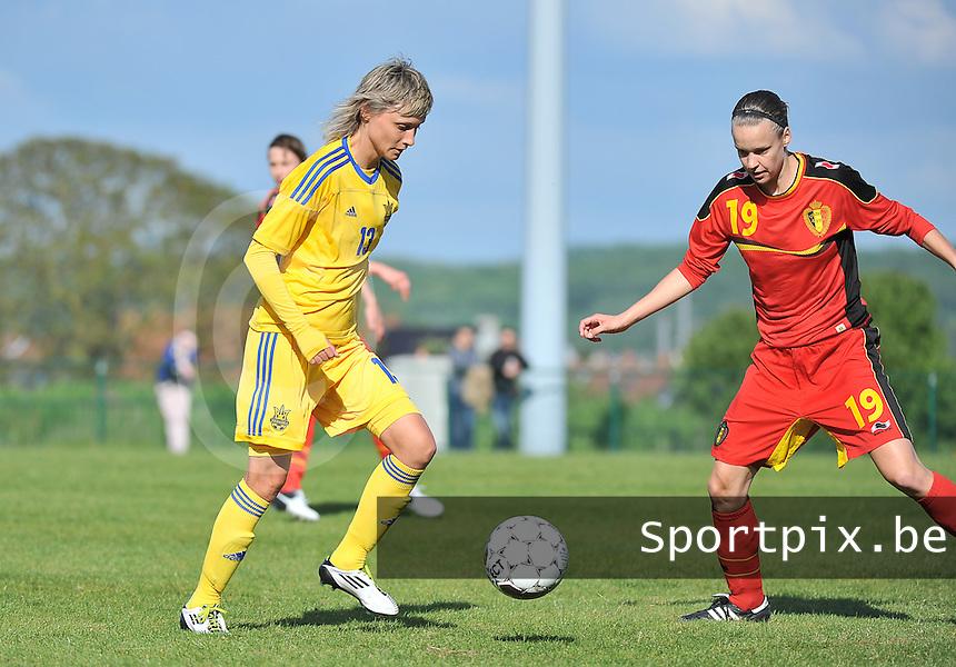Belgium - Ukraine : Iuliia Korniievets aan de bal voor Lore Vanschoenwinkel (19)<br /> foto DAVID CATRY / Nikonpro.be