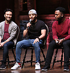 "Marc delaCruz, Terrance Spencer and Deon'te Goodman during the Q & A before The Rockefeller Foundation and The Gilder Lehrman Institute of American History sponsored High School student #EduHam matinee performance of ""Hamilton"" at the Richard Rodgers Theatre on 5/22/2019 in New York City."