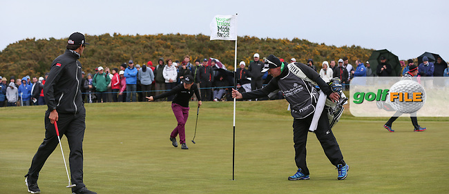 Tyrrell Hatton (ENG) and /fcb/ on the 17th green during Round Three of the 2015 Dubai Duty Free Irish Open Hosted by The Rory Foundation at Royal County Down Golf Club, Newcastle County Down, Northern Ireland. 30/05/2015. Picture David Lloyd | www.golffile.ie