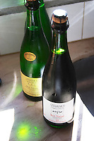 A bottle of sparkling RPF Reserva Personal de la Familia Brut Nature 2004 Blanc de Blanc, backlit in silhouette and a Brut nature Negro red sparkling wine. Bodega Pisano Winery, Progreso, Uruguay, South America