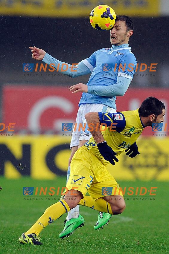 Stefan Radu Lazio, Sergio Pellissier Chievo <br /> Verona 02-02-2014 Stadio Bentegodi. Football Calcio Serie A 2013/2014 Chievo Verona - Lazio foto Insidefoto