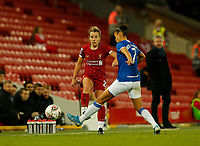 17th November 2019; Anfield, Liverpool, Merseyside, England; Womens Super League Footballl, Liverpool Women versus Everton; Becky Jane of Liverpool FC Women plays a pass down the wing past Chantelle Boye-Hlorkah of Everton - Editorial Use
