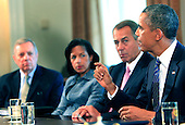 United States President Barack Obama meets with bipartisan Members of Congress in the Cabinet Room of the White House in Washington, D.C. on September 3, 2013. From left to right:  U.S. Senator Richard J. Durbin (Democrat of Illinois); Ambassador Susan Rice, National Security Advisor; Speaker of the U.S. House John Boehner (Republican of Ohio); President Obama. <br /> Credit: Dennis Brack / Pool via CNP
