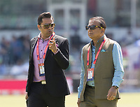 Aakash Chopra (l) with Sunil Gavaskar (r) during Pakistan vs Bangladesh, ICC World Cup Cricket at Lord's Cricket Ground on 5th July 2019