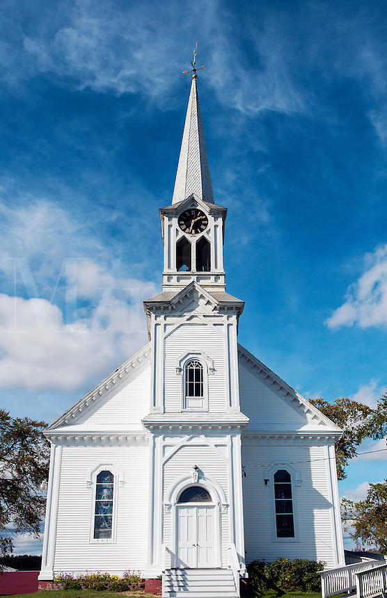 Quaint New England church, Jonesport, Maine, USA