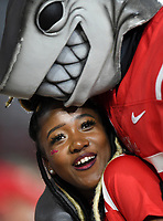 NWA Democrat-Gazette/CHARLIE KAIJO The Ole Miss mascot hugs a fan during the second half of a football game, Saturday, September 7, 2019 at Vaught-Hemingway Stadium in Oxford, Miss.