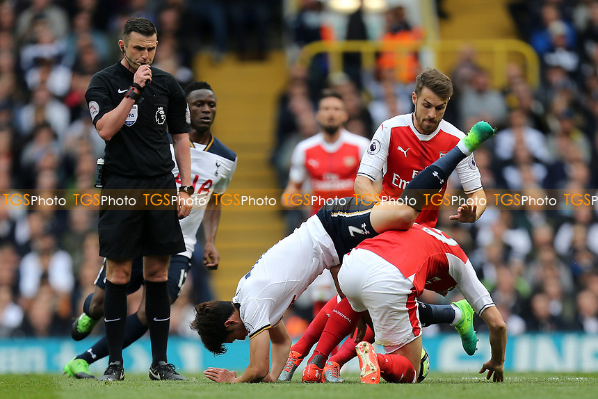 Granit Xhaka of Arsenal and Son Heung-Min of Tottenham Hotspur during Tottenham Hotspur vs Arsenal, Premier League Football at White Hart Lane on 30th April 2017