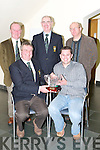 PRIZE: Alan Kelly, winner of the Old Reserve Captains Prize at Ceann Sibeal, Dingle, on Saturday, was presented with his prize by David Doyle (Captain of the Old Reserve Golfing Society). Back l-r: John Campbell (Vice Captain), Donal O'Mahony (President) and Tom Egan (Treasurer)..