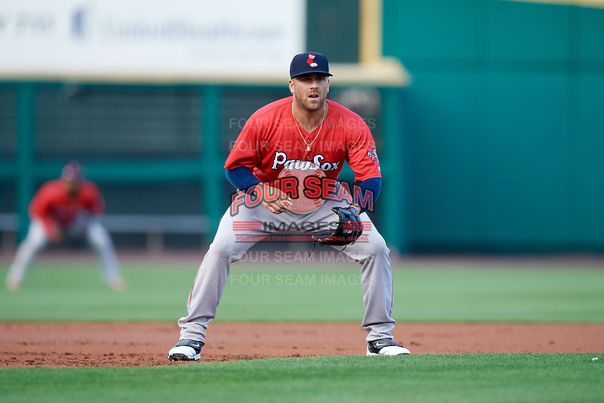 Pawtucket Red Sox third baseman Mike Olt (2) during a game against the Rochester Red Wings on July 4, 2018 at Frontier Field in Rochester, New York.  Pawtucket defeated Rochester 6-5.  (Mike Janes/Four Seam Images)