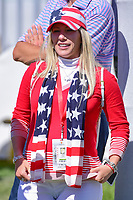 Patrick Reed's (USA) wife Justine watches on the first tee during round 4 Singles of the 2017 President's Cup, Liberty National Golf Club, Jersey City, New Jersey, USA. 10/1/2017. <br /> Picture: Golffile | Ken Murray<br /> <br /> All photo usage must carry mandatory copyright credit (&copy; Golffile | Ken Murray)