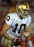 Los Angeles, CA 11/25/06 - Brady Quinn of Notre Dame was able to move the ball more during the second quarter against USC at the Los Angeles Memorial Colisseum.<br />