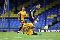 Simon Cox of Southend United challenged by mickey Demetriou of Newport County during Southend United vs Newport County, Caraboa Cup Football at Roots Hall on 8th August 2017