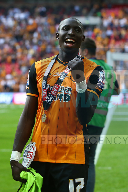 Hull?s Mohamed Diame celebrates promotion during the Skybet Championship Play Off Final match at Wembley Stadium. Photo credit should read: Philip Oldham/Sportimage