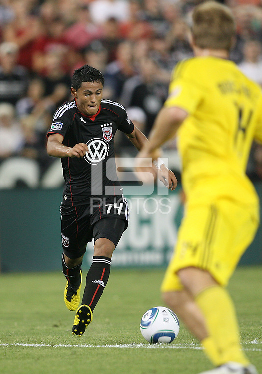 Andy Najar #14 of D.C. United moves up on Chad Marshall #14 of the Columbus Crew during a US Open Cup semi final match at RFK Stadium on September 1 2010, in Washington DC. Columbus won 2-1 aet.