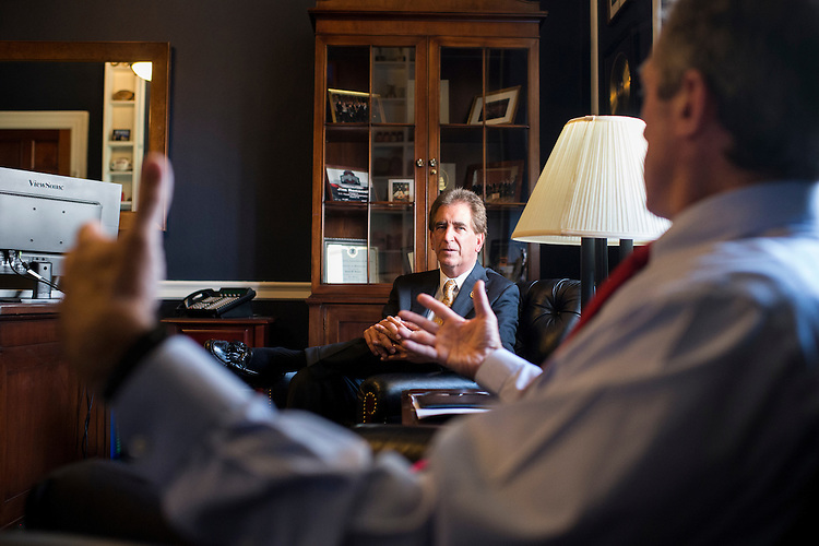 UNITED STATES - MAY 19: Rep. James Renacci, R-Ohio, left, and Rep. John Carney, D-Del., speak with Roll Call on Tuesday, May 19, 2015, about their Bipartisan Group. (Photo By Bill Clark/CQ Roll Call)