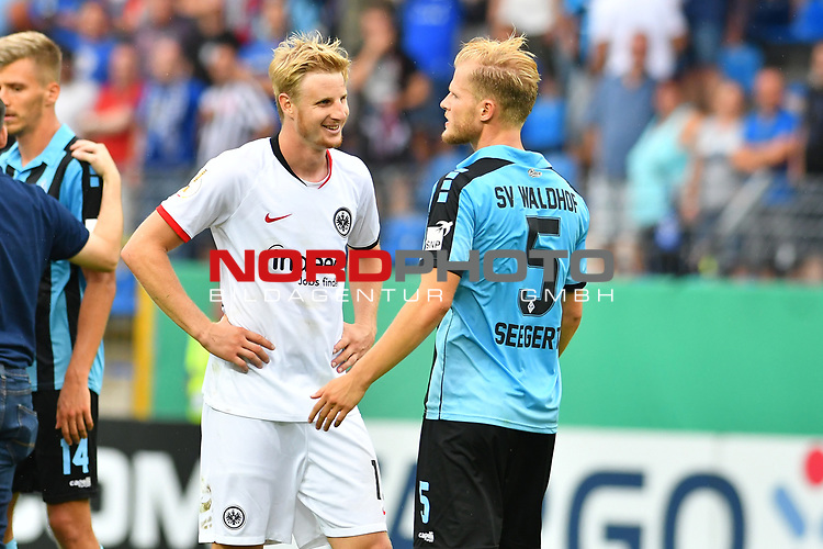11.08.2019, Carl-Benz-Stadion, Mannheim, GER, DFB Pokal, 1. Runde, SV Waldhof Mannheim vs. Eintracht Frankfurt, <br /> <br /> DFL REGULATIONS PROHIBIT ANY USE OF PHOTOGRAPHS AS IMAGE SEQUENCES AND/OR QUASI-VIDEO.<br /> <br /> im Bild: Marcel Seegert (SV Waldhof Mannheim #5), Martin Hinteregger (Eintracht Frankfurt #13)<br /> <br /> Foto © nordphoto / Fabisch