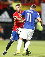 Spain's Sergio Ramos (l) and Liechtenstein's Franz Burgmeier during FIFA World Cup 2018 Qualifying Round match. September 5,2016.(ALTERPHOTOS/Acero)