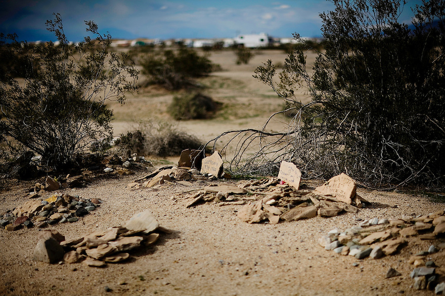 Niland, Calif., February 4, 2008 - The graves of past friends, both human and animal, lie in the desert on the edge of Slab City. The makeshift cemetery is now home to many past residents. .