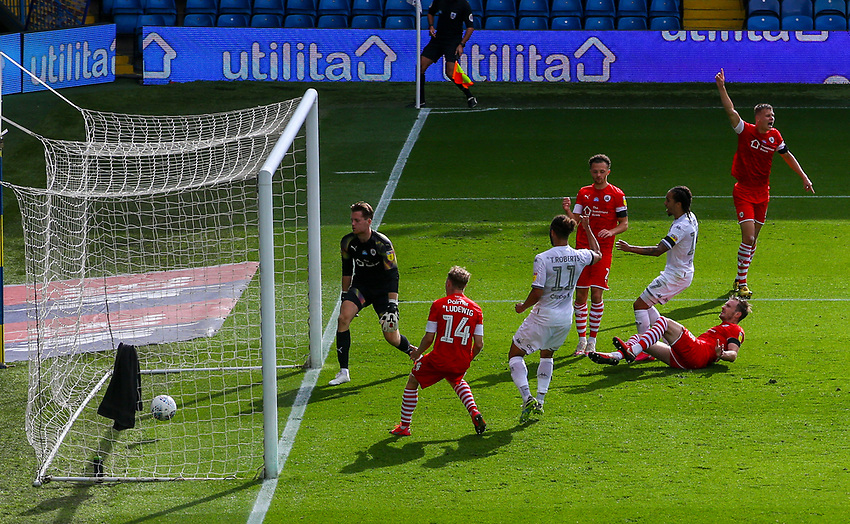 Barnsley's Michael Sollbauer puts into his own net in the first half<br /> <br /> Photographer Alex Dodd/CameraSport<br /> <br /> The EFL Sky Bet Championship - Leeds United v Barnsley - Thursday 16th July 2020 - Elland Road - Leeds<br /> <br /> World Copyright © 2020 CameraSport. All rights reserved. 43 Linden Ave. Countesthorpe. Leicester. England. LE8 5PG - Tel: +44 (0) 116 277 4147 - admin@camerasport.com - www.camerasport.com