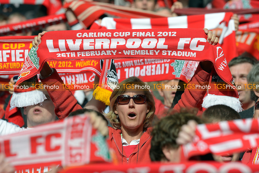 Liverpool fans before kick off - Chelsea vs Liverpool - FA Challenge Cup Final at Wembley Stadium, London - 05/05/2012 - MANDATORY CREDIT: Martin Dalton/TGSPHOTO - Self billing applies where appropriate - 0845 094 6026 - contact@tgsphoto.co.uk - NO UNPAID USE.