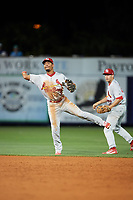 Palm Beach Cardinals shortstop Edmundo Sosa (3) throws to first base during a game against the Charlotte Stone Crabs on April 11, 2017 at Charlotte Sports Park in Port Charlotte, Florida.  Palm Beach defeated Charlotte 12-6.  (Mike Janes/Four Seam Images)