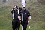 Padraig Harrington and Lee Westwood after playing there third shot onto the green on the 3rd hole during day two of the 3 Irish Open..Pic Fran Caffrey/golffile.ie