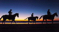 L.Wildhorse.1202.jl.jpg/photo Jamie Scott Lytle/Marcos Briones, Carlos Briones, abd Andrel Machado of Rancho Camino stables ride their horses at on the shore ofMoonlight Beach in Encinitas before the Christmas Parade Saturday evening.