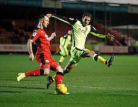 Exeter City's Craig Woodman closes down Crawley Town's Rhys Murphy during the Sky Bet League 2 match between Crawley Town and Exeter City at Broadfield Stadium, Crawley, England on 28 February 2017. Photo by Carlton Myrie / PRiME Media Images.