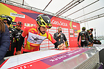 Yesterday's stage winner and race leader Riccardo Stacchiotti (ITA) Giotti Victoria-Palomar Continental team at sign on before the start of Stage 2 of Il Giro di Sicilia running 236km from Capo d'Orlando to Palermo, Italy. 4th April 2019.<br /> Picture: LaPresse/Massimo Paolone | Cyclefile<br /> <br /> <br /> All photos usage must carry mandatory copyright credit (© Cyclefile | LaPresse/Massimo Paolone)