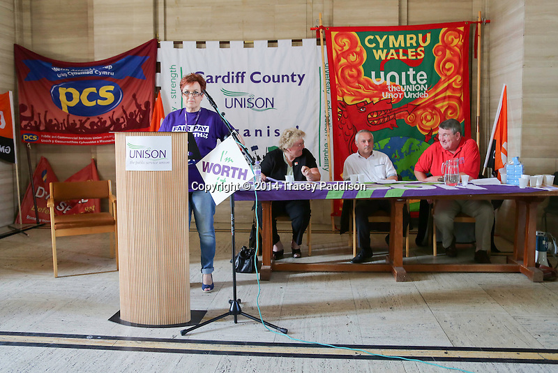 Public Sector Strike one day strike 10th July 2014. Speakers at the Temple of Peace, Cardiff