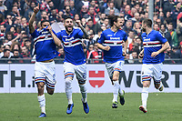 Gregoire Defrel of Sampdoria (L) celebrates after scoring the goal of 1-0 <br /> Genova 14-04-2019 Stadio Luigi Ferraris Football Calcio Serie A 2018/2019 Sampdoria - Genoa <br /> Foto Matteo Gribaudi / Image Sport / Insidefoto