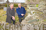 Peter Kelliher Glenflesk and Cllr: Michael Gleeson at the corner of a church ruin in Killaha cemetery which has to be repaired or the gable of the church could fall down on Peter's family grave