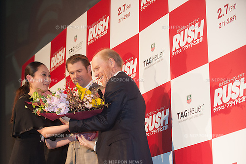 January 30, 2014 : Tokyo, Japan - Miki Ando, Chris Hemsworth, and Ron Howard appear at the Japan Premiere for RUSH by Ron Howard in the Yurakucho Marion, Tokyo, Japan. (Photo by Yumeto Yamazaki/NipponNews)