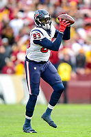 Landover, MD - November 18, 2018: Houston Texans tight end Jordan Thomas (83) catches a swing pass from Houston Texans quarterback Deshaun Watson (4) during second half action of game between the Houston Texans and the Washington Redskins at FedEx Field in Landover, MD. The Texans defeated the Redskins 23-21. (Photo by Phillip Peters/Media Images International)