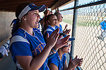 Western Nevada's Hannah Russo (27) cheers for her teammates in the dugout while playing against Salt Lake Community College during the first game of a two game series in Carson City, Nev. on Saturday, March 7, 2015. Photo by Kevin Clifford/Nevada Photo Source