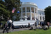 July 15, 2019 - Washington, DC, United States: A boat manufactured by Freeman is displayed at the 3rd Annual Made in America Product Showcase at the White House. <br /> Credit: Chris Kleponis / Pool via CNP