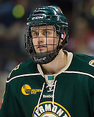 Drew MacKenzie (Vermont - 2).  The Catamounts wear a Blue Mountain flag emblem at the neck of their sweaters to honor Vermont National Guard members who have been deployed overseas. - The visiting University of Vermont Catamounts tied the Boston University Terriers 3-3 in the opening game of their weekend series at Agganis Arena in Boston, Massachusetts, on Friday, February 25, 2011.