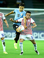 MANIZALES - COLOMBIA, 19-01-2020: Nicolás Acevedo de Uruguay y Cristian Núñez de Paraguay disputan el balón partido entre las selecciones de Uruguay y Paraguay por la fecha 1, grupo B, del CONMEBOL Preolímpico Colombia 2020 jugado en el estadio Centenario de la ciudad de Armenia, Colombia. / Nicolás Acevedo of Uruguay and Cristian Nuñez of Paraguay fights the ball during a match between the teams Uruguay and Paraguay of the date 1, group B, for the CONMEBOL Pre-Olympic Tournament Colombia 2020 played at Cetennial stadium in Armenia city, Colombia. Photo: VizzorImage / Julián Medina / Cont.