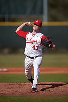 Ohio State Buckeyes starting pitcher Adam Niemeyer (43) delivers a pitch during a game against the Illinois State Redbirds on March 5, 2016 at North Charlotte Regional Park in Port Charlotte, Florida.  Illinois State defeated Ohio State 5-4.  (Mike Janes/Four Seam Images)