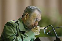 "The Cuban President Fidel Castro speaks at the ""Palace of the Conventions"" in Havana, Cuba, Saturday, June 4, 2005. Credit: Jorge Rey/MediaPunch"