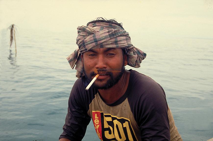 Portrait of a Thai Fishermen smoking