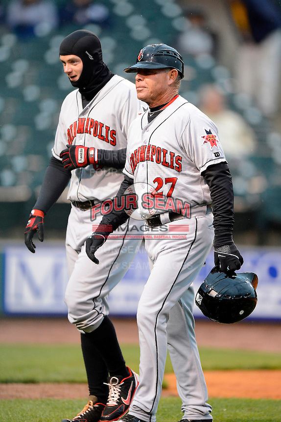 Indianapolis Indians manager Dean Treanor #27 and first baseman Matt Hague #6 during a game against the Louisville Bats on April 19, 2013 at Louisville Slugger Field in Louisville, Kentucky.  Indianapolis defeated Louisville 4-1.  (Mike Janes/Four Seam Images)
